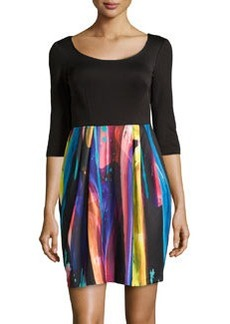 Betsey Johnson Knit Fit-and-Flare Dress, Black Multi