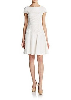 Betsey Johnson Lace & Mesh Cap-Sleeve Dress