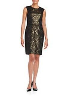 BETSEY JOHNSON Lace-Accented Sheath Dress