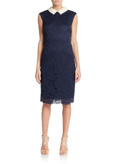 Betsey Johnson Lace Embellished-Collar Sheath Dress