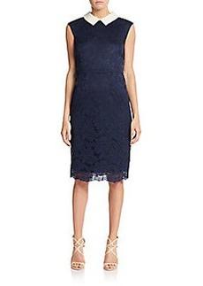 Betsey Johnson Lace Embellished-Collar Sheath Dress