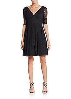 Betsey Johnson Lace Empire Surplice Dress