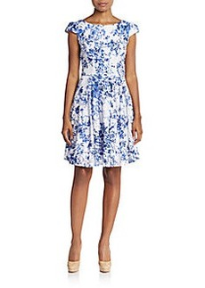 Betsey Johnson Lace Floral-Print A-Line Dress