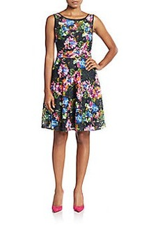 Betsey Johnson Lace Floral-Print A-Line Dress