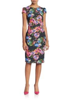 Betsey Johnson Lace Floral-Print Sheath Dress