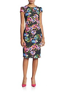 Betsey Johnson Lace Floral-Print Sheath Dress