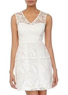 Betsey Johnson Lace-Front Sleeveless Dress, Ivory