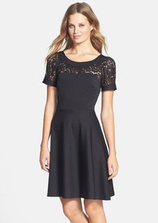 Betsey Johnson Lace Inset Ponte Fit & Flare Dress