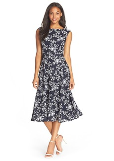 Betsey Johnson Lace Midi Fit & Flare Dress
