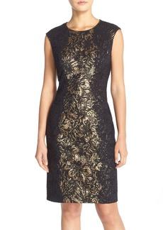 Betsey Johnson Lace Side Metallic Jacquard Sheath Dress