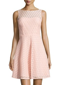 Betsey Johnson Lace Sleeveless Fit-and-Flare Dress