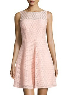 Betsey Johnson Lace Sleeveless Fit-and-Flare Dress, Coral