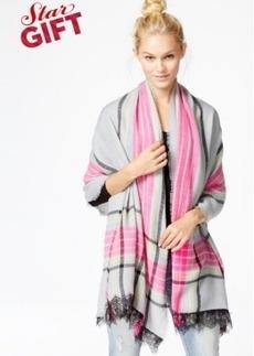 Betsey Johnson Lace Trim Plaid Blanket Wrap