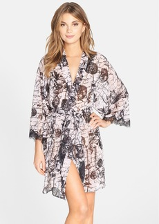 Betsey Johnson Lace Trim Print Chiffon Robe