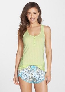 Betsey Johnson Lace Trim Rib Knit Tank