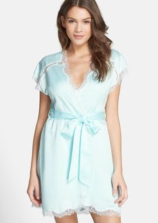Betsey Johnson Lace Trim Short Sleeve Satin Robe