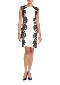 BETSEY JOHNSON Lace-Trimmed Sheath Dress