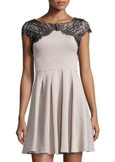 Betsey Johnson Lace-Yoke Cocktail Dress, Taupe