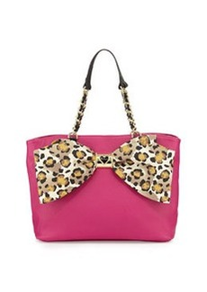 Betsey Johnson Large Tote with Bow Detail, Leopard