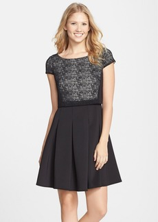 Betsey Johnson Laser Cut Scuba Popover Fit & Flare Dress