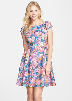 Betsey Johnson Lasercut Floral Print Scuba Fit & Flare Dress