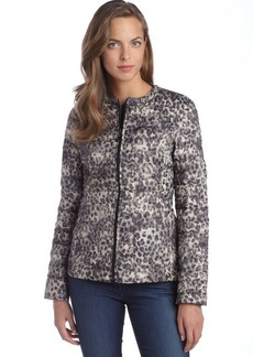Betsey Johnson leopard and black reversible quilted down jacket