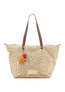 Betsey Johnson Leopard-Print Canvas Zip Tote, Natural/Gold