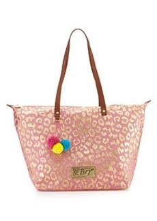 Betsey Johnson Leopard-Print Canvas Zip Tote, Pink/Gold