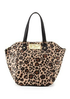Betsey Johnson Leopard-Print Hexagon Tote Bag, Black/Tan