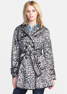 Betsey Johnson Leopard Print Mesh Trench Coat