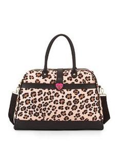Betsey Johnson Leopard-Print Weekender Bag, Blush