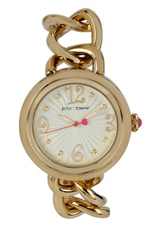 Betsey Johnson Link & Leather Strap Watch, 38mm