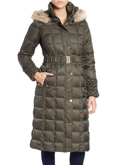 BETSEY JOHNSON Long Faux Fur-Trimmed Puffer Coat