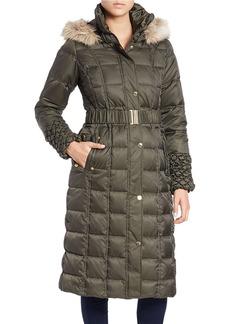 BETSEY JOHNSON Long Faux Fur-Trimmed Puffer Coat