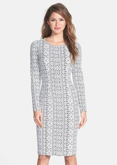 Betsey Johnson Long Sleeve Print Sweater Dress