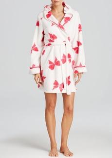 Betsey Johnson Luxe Fleece Hooded Bow Robe