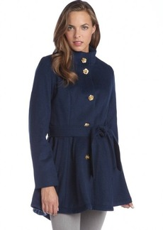 Betsey Johnson marina navy wool blend rose button belted coat