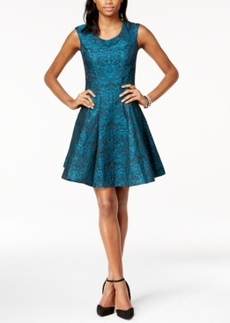 Betsey Johnson Metallic Jacquard Fit & Flare Dress