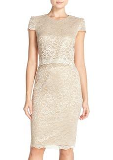 Betsey Johnson Metallic Lace Popover Sheath Dress
