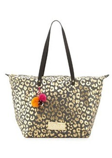 Betsey Johnson Metallic Leopard-Print Canvas Tote Bag, Black
