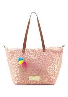 Betsey Johnson Metallic Leopard-Print Canvas Tote Bag, Pink