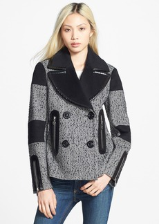 Betsey Johnson Mixed Media Tweed Peacoat (Online Only)