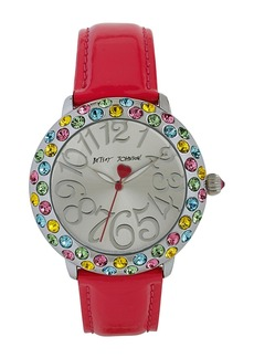 Betsey Johnson Multicolor Crystal Bezel Leather Strap Watch, 38mm