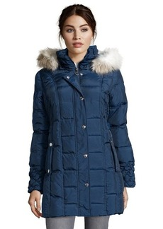 Betsey Johnson navy quilted down filled faux fur hooded zip and snap front coat