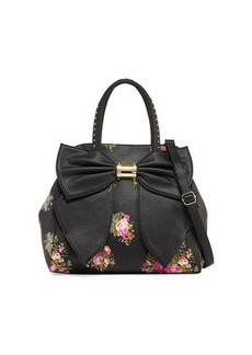 Betsey Johnson Oh Bow Floral Faux-Leather Satchel Bag