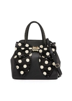 Betsey Johnson Oh Bow Sequined Faux-Leather Satchel Bag