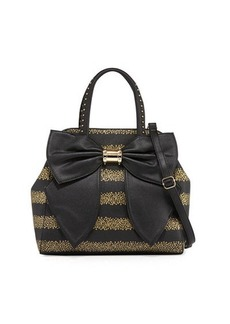 Betsey Johnson Oh Bow Star-Stripe Faux-Leather Satchel Bag