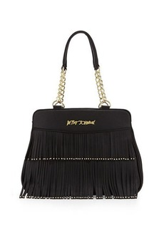 Betsey Johnson On The Fringe Faux-Leather Satchel Bag