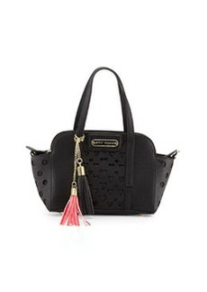 Betsey Johnson Open Your Heart Faux-Leather Crossbody Bag, Black