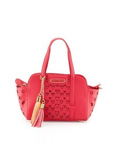 Betsey Johnson Open Your Heart Faux-Leather Crossbody Bag, Fuchsia